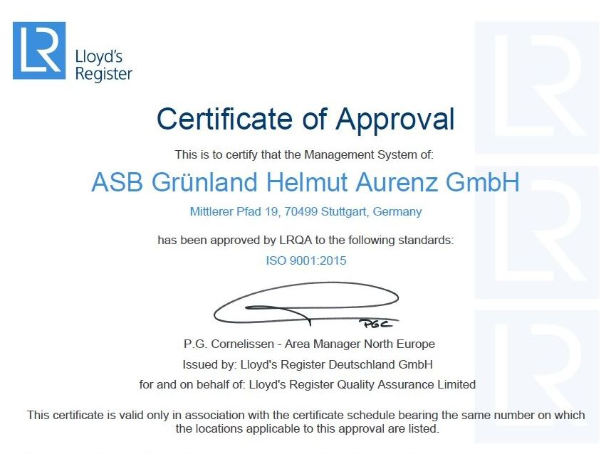 ISO certification to ISO 9001: 2015