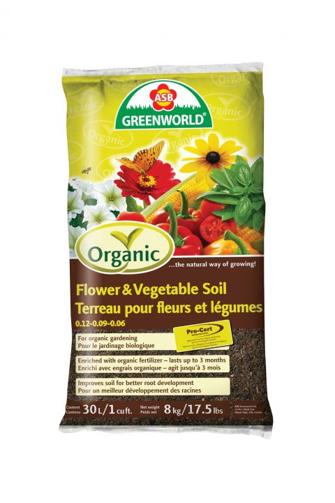 ASB Greenworld Organic Flower & Vegetable Soil, 30 L/27 qt./1 cu.ft.